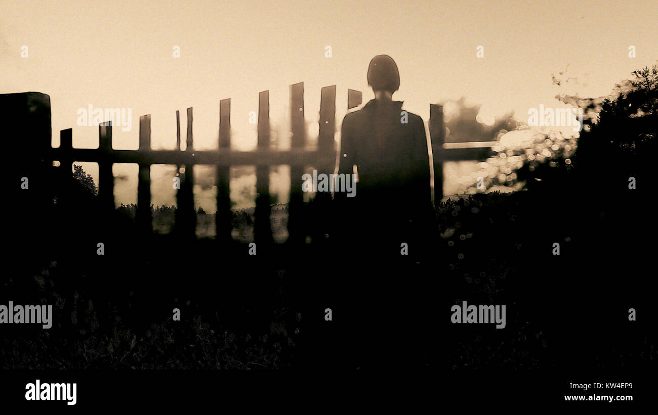 Horror scene of scary woman. Can be use for book cover - Stock Image