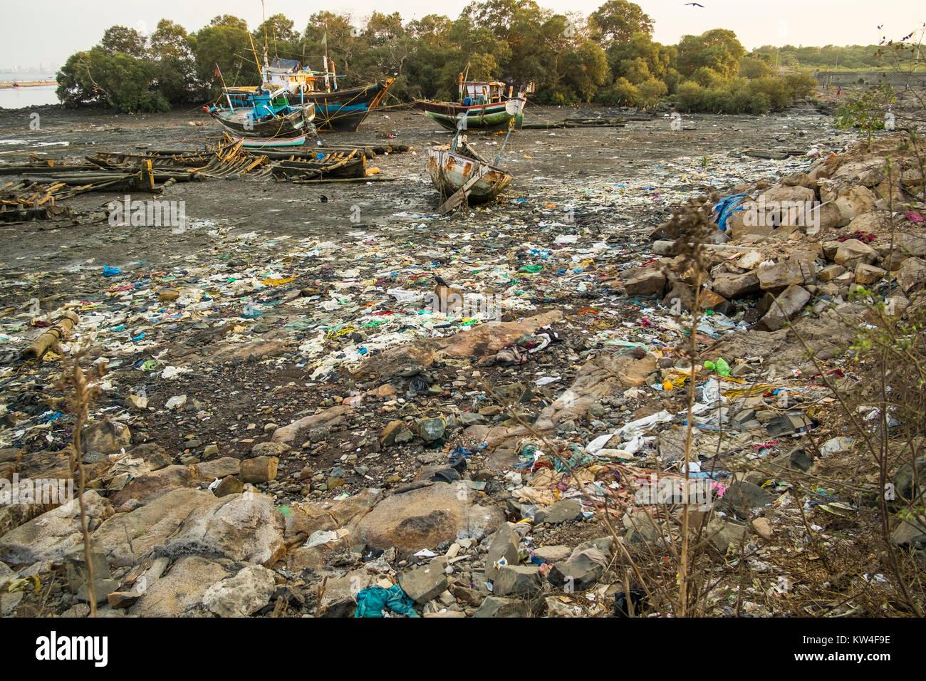 Garbage at Versova - Madh in Mumbai. Stock Photo