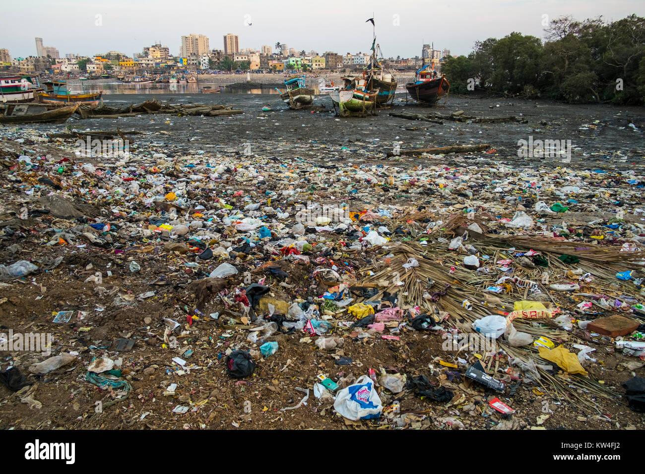 Life goes on amongst garbage in Madh Island, Madh, Mumbai, India Stock Photo