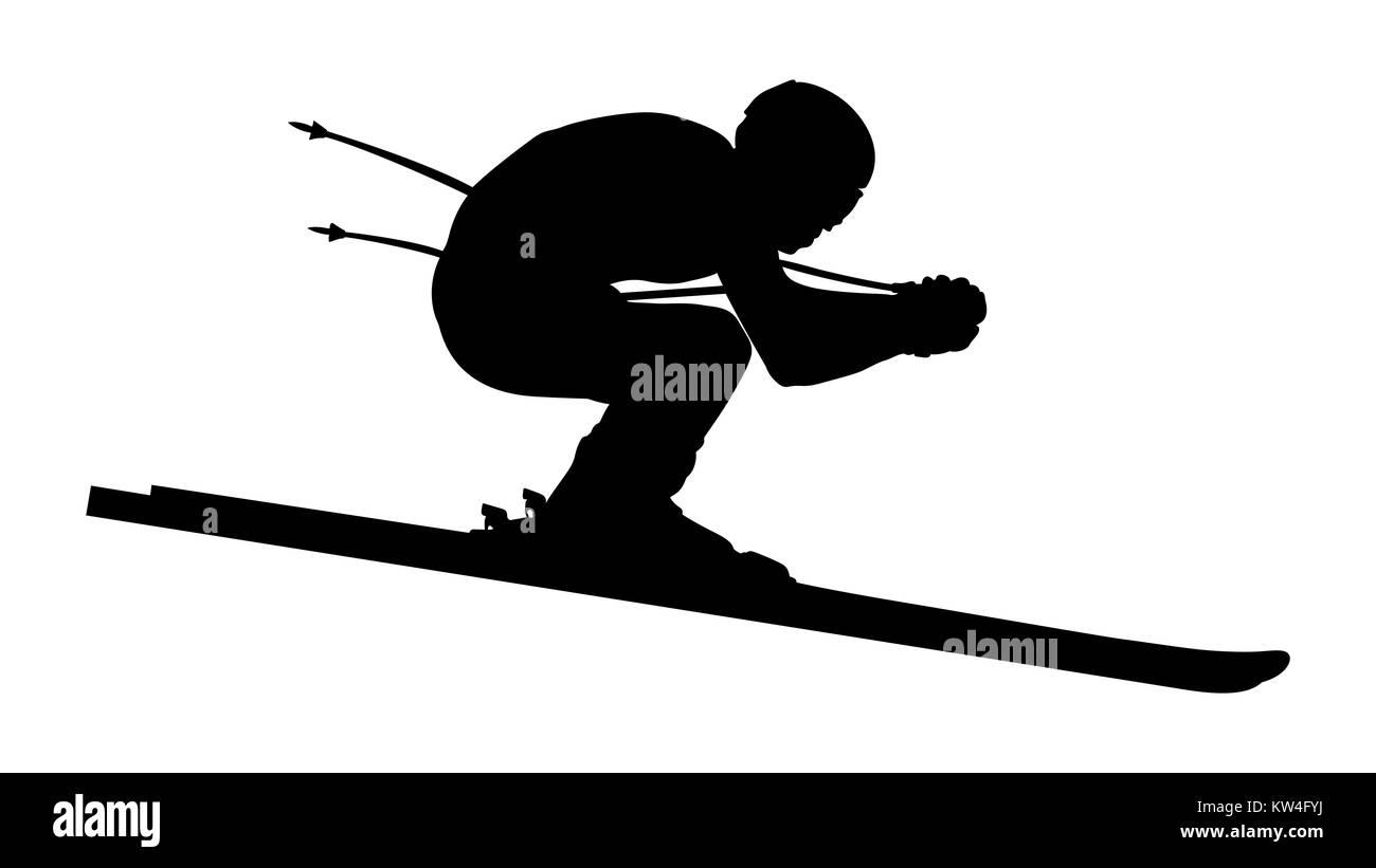 athlete skier downhill alpine skiing black silhouette - Stock Image