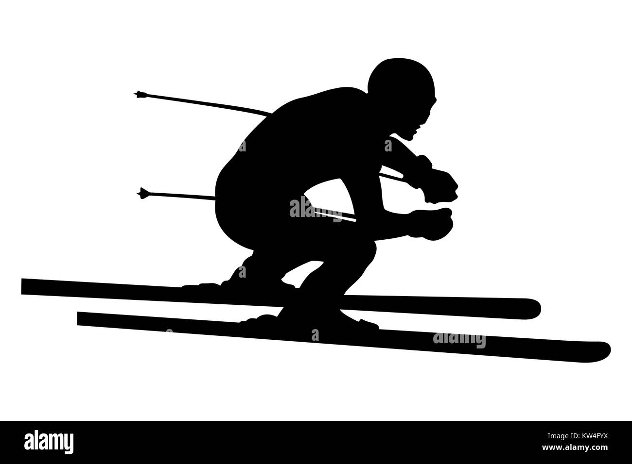 skier athlete downhill alpine skiing vector illustration - Stock Image