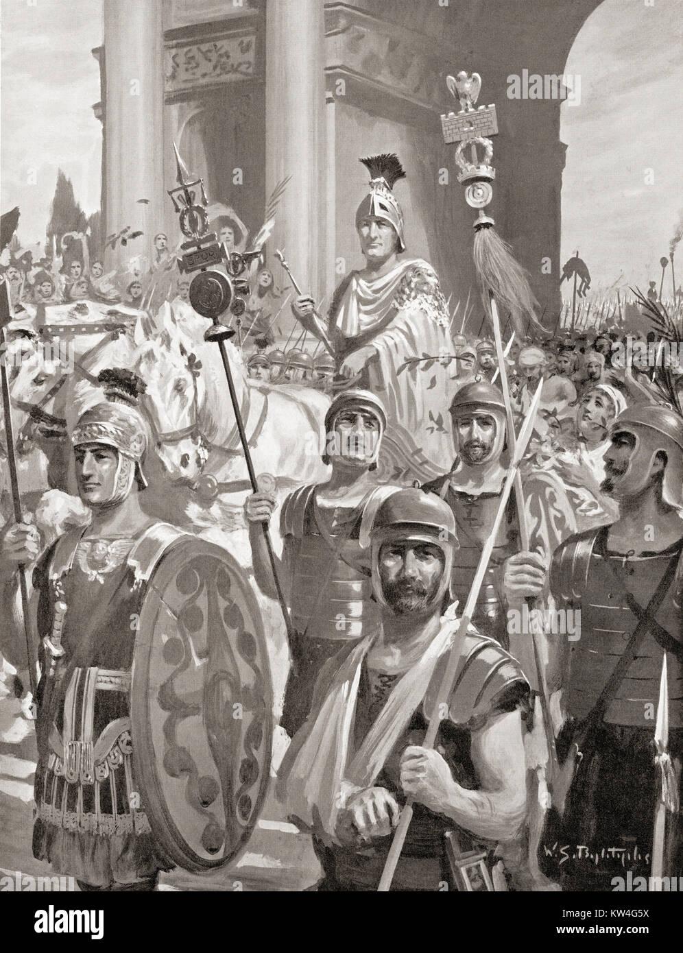 Scipio's triumphal return to Rome in 202 BC.  Publius Cornelius Scipio Africanus, 236–183 BC, aka Scipio the - Stock Image