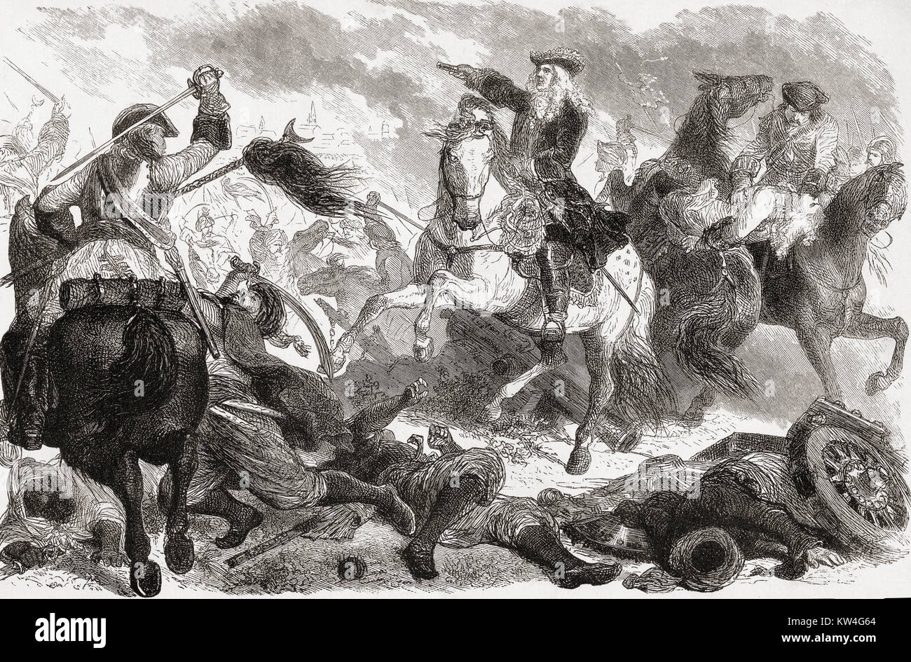 Prince Eugene of Savoy at the conquest of Belgrade 1717, thus ending the siege of Belgrade  which occurred during - Stock Image