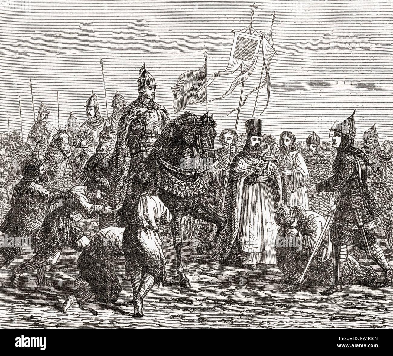 Ivan the Terrible entering Kazan in 1552.  Ivan IV Vasilyevich, 1530 – 1584, aka Ivan the Terrible or Ivan the Fearsome. - Stock Image