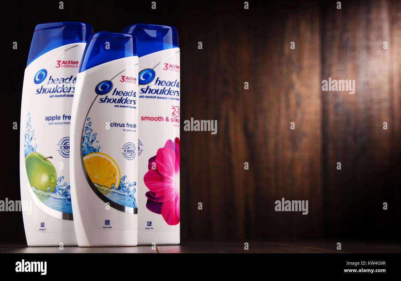 POZNAN, POLAND - DEC 7, 2017: Head & Shoulders products, American brand of anti dandruff and non dandruff shampoo Stock Photo