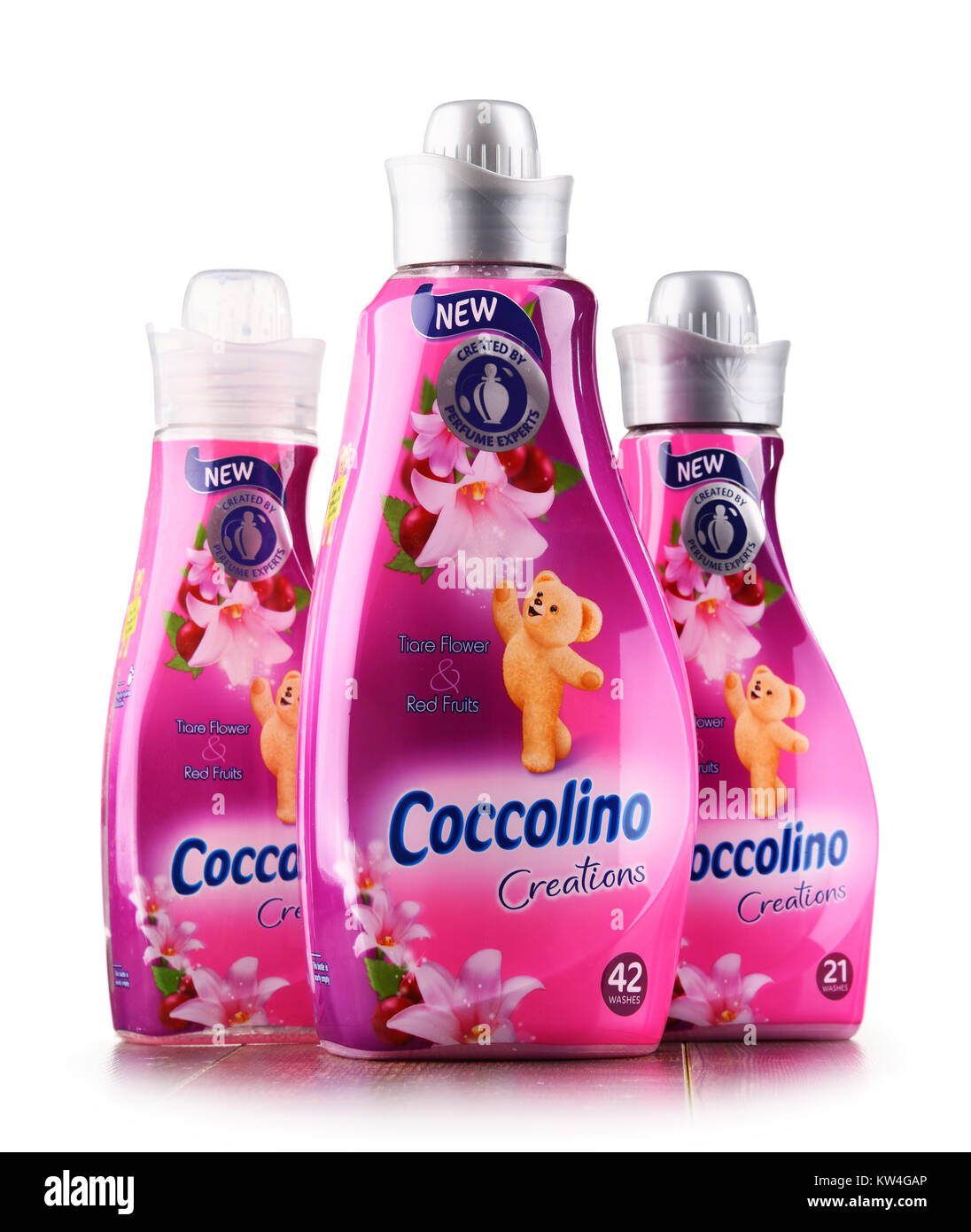 POZNAN, POLAND - DEC 14, 2017: bottles of liquid Coccolino fabric softener owned by Unilever, a British-Dutch transnational - Stock Image
