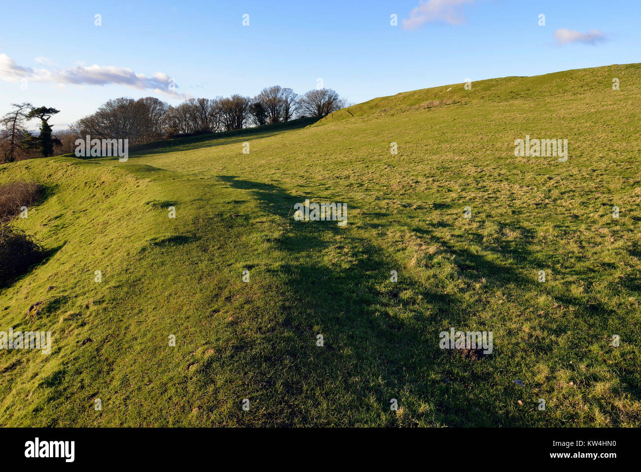 Evening Sun on Western Ramparts of Cadbury Castle Hill Fort, South Somerset Stock Photo
