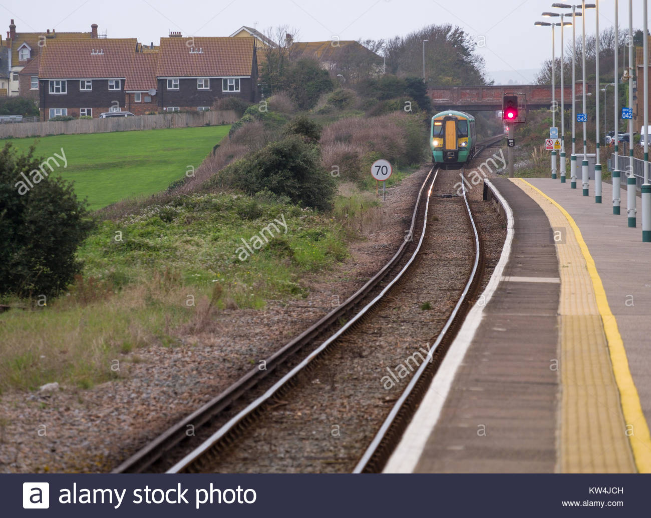 Class 377 Electrostar British electric multiple-unit train (EMU) built by Bombardier Transportation arriving at - Stock Image