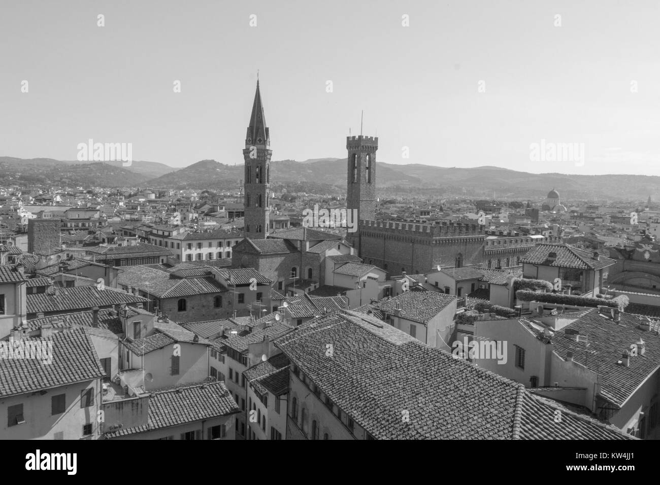 Italy, Florence - May 18 2017: the view of Florence from Palazzo Vecchio on May 18 2017 in Florence, Tuscany, Italy. Stock Photo