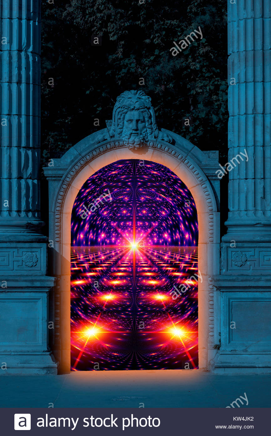 A portal to another world. Saint Peter guarding Heaven's Gate. A time machine. - Stock Image