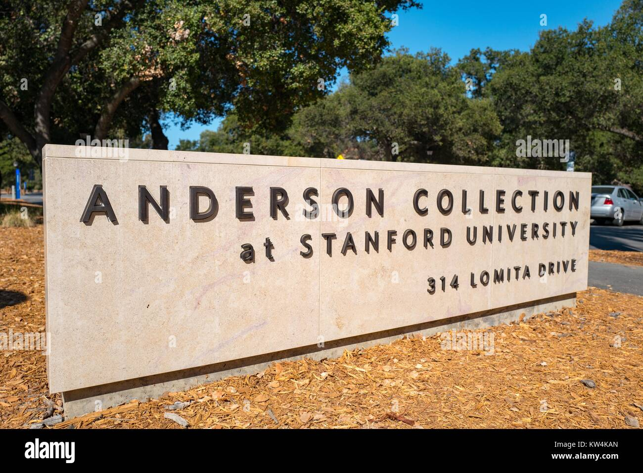 Signage for Anderson Collection, on the campus of Stanford University in the Silicon Valley town of Palo Alto, California, - Stock Image