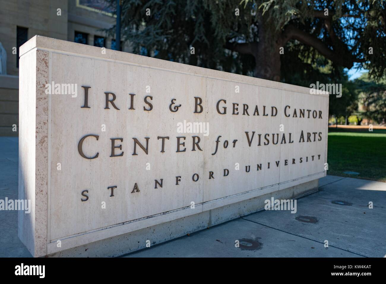 Signage at entrance to Cantor Arts Center, formerly the Leland Stanford Junior Museum, with full name reading 'Iris - Stock Image