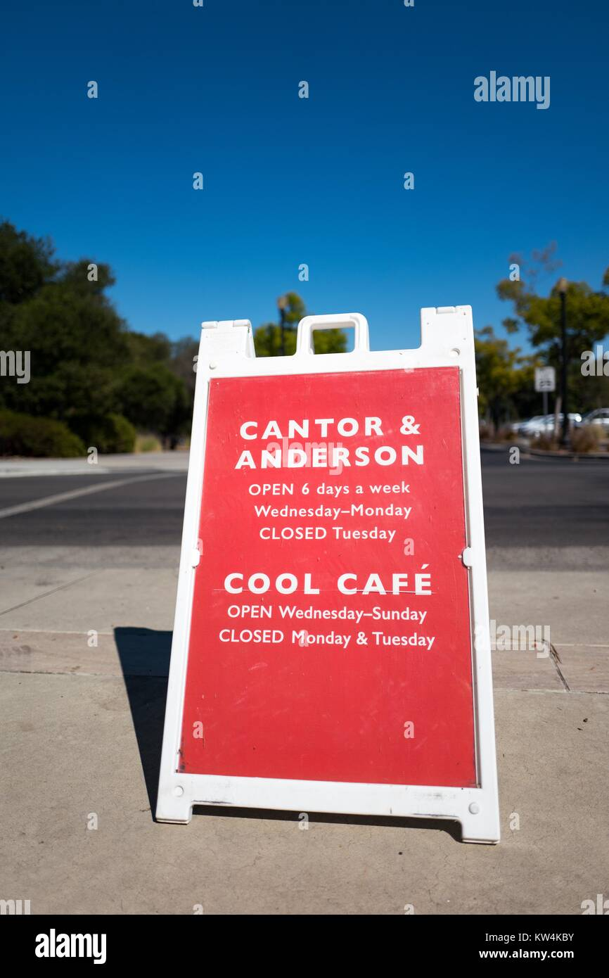 Sign for Cantor Arts Center, formerly the Leland Stanford Junior Museum, Anderson Collection and the Cool Cafe on - Stock Image