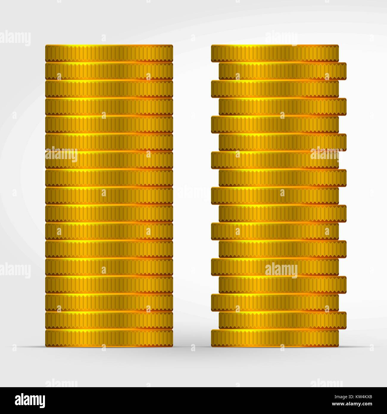 5f291d21948c Two Bars of Stacked Gold Coins - Stock Vector