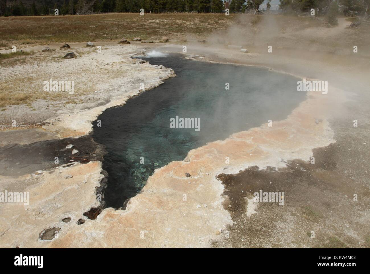 Steam rising from Ojo Caliente Spring, Yellowstone National Park, Wyoming, August, 2014. Image courtesy Jim Peaco/Yellowstone - Stock Image
