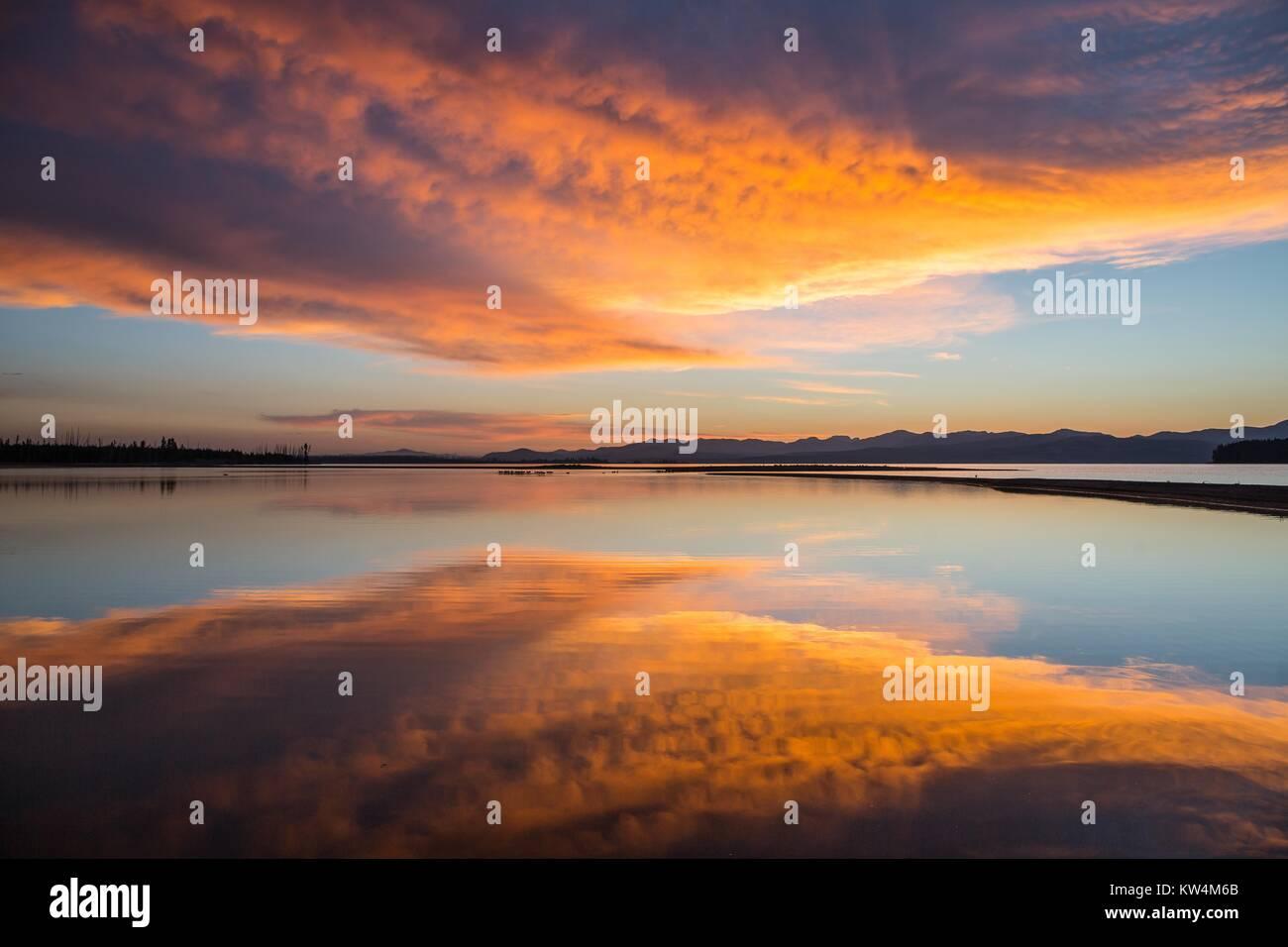The Flat Mountain arm of Yellowstone Lake at sunrise, Yellowstone National Park, Wyoming, 2016. Image courtesy Neal Stock Photo