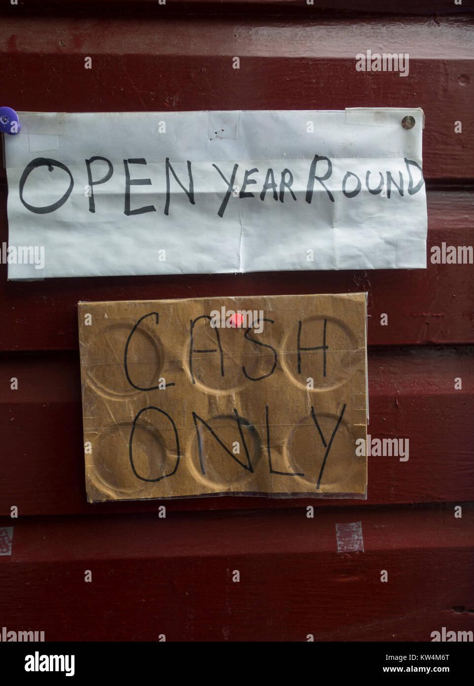 open year round sign Troy NY - Stock Image