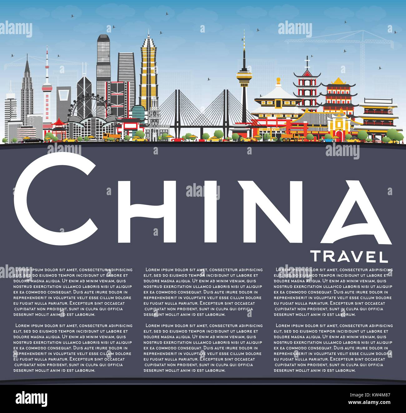 China City Skyline with Copy Space. Famous Landmarks in China. Vector Illustration. Business Travel and Tourism Stock Vector