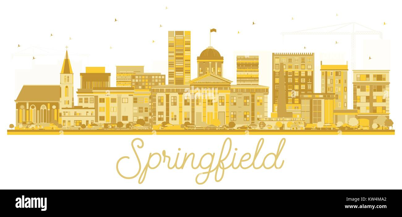 Springfield Illinois USA City skyline golden silhouette. Vector illustration. Simple flat concept for tourism presentation, - Stock Vector