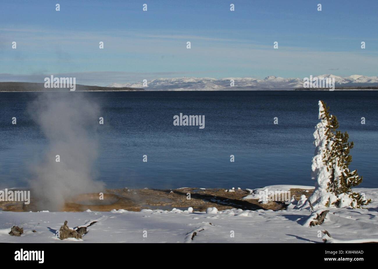 Hot spring on the shore of the West Thumb of Yellowstone Lake, Yellowstone National Park, Wyoming, November 19, - Stock Image