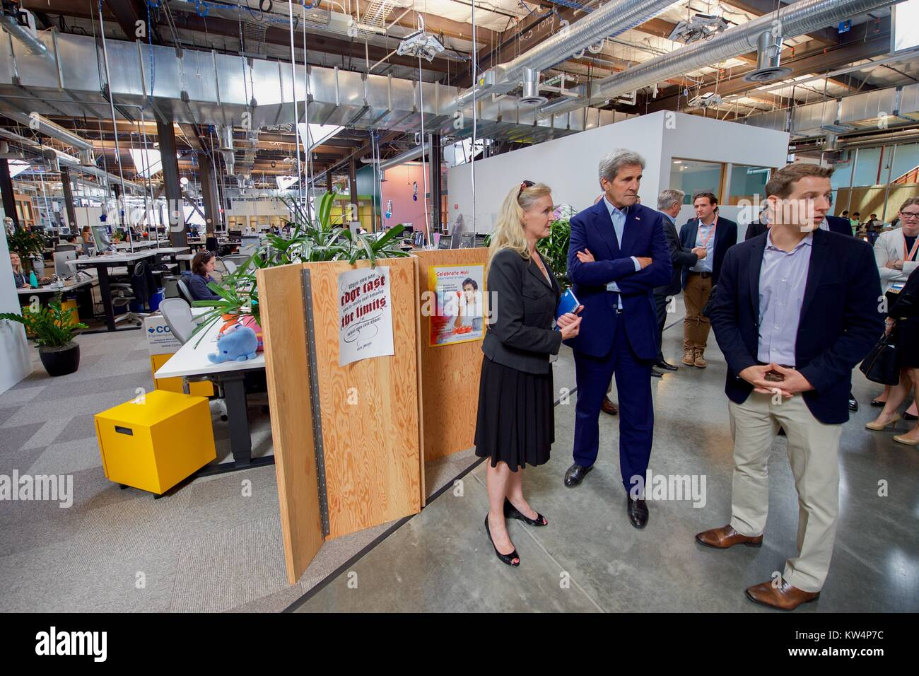 US Secretary of State John Kerry with Brenda Tierney and Brian Rice at Facebook headquarters, Menlo Park, California, - Stock Image