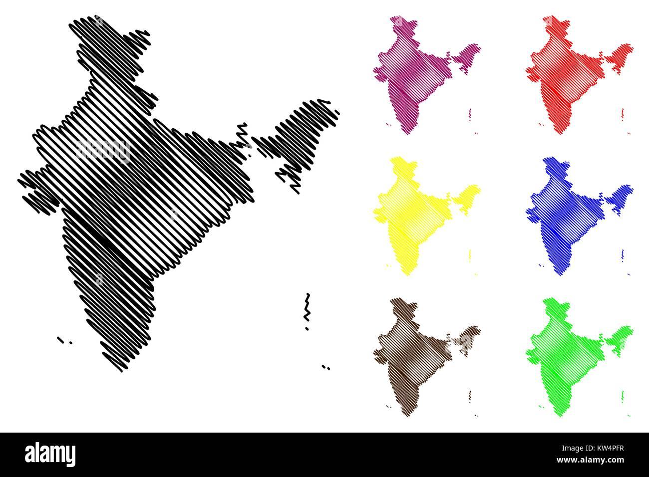 India map vector illustration, scribble sketch Republic of India Stock Vector
