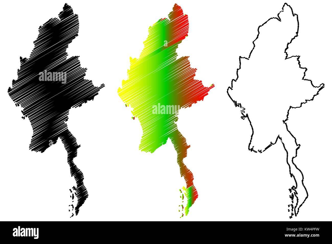Myanmar map vector illustration, scribble sketch Republic of the Union of Myanmar, Burma, - Stock Vector