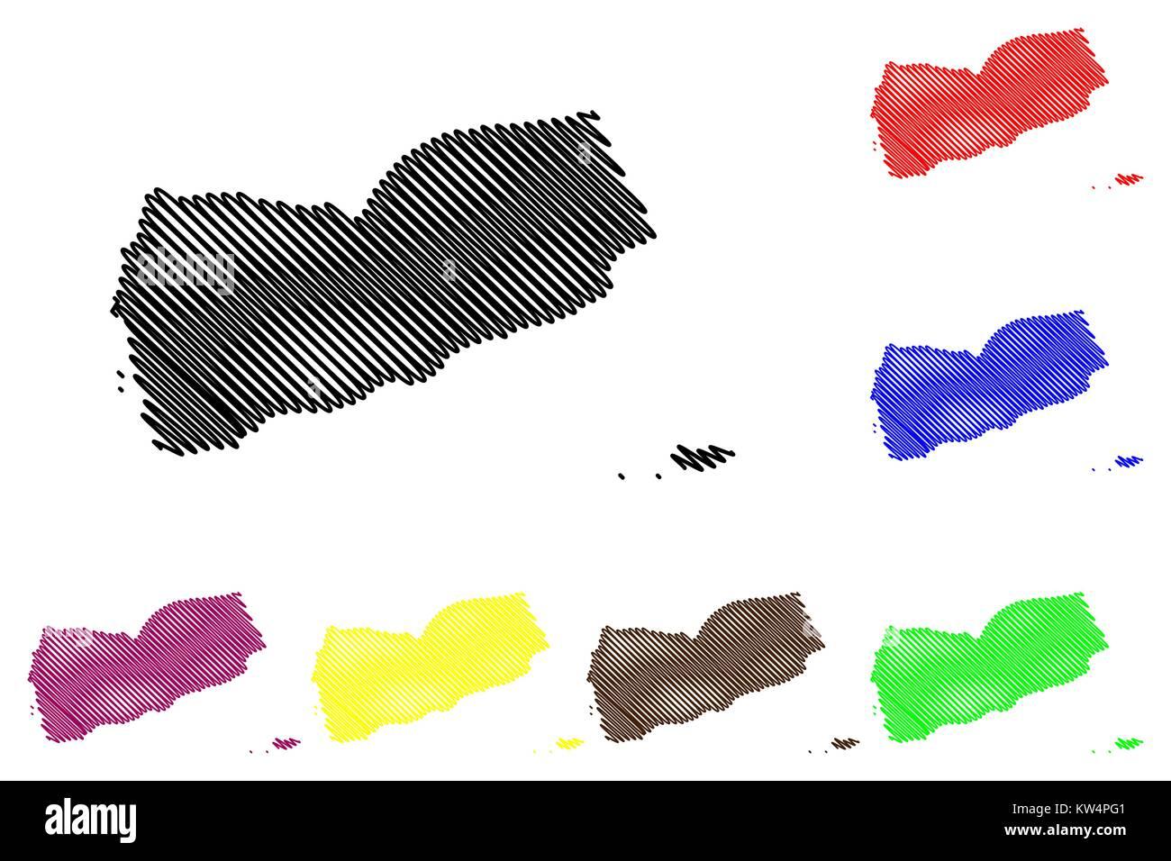 Yemen map vector illustration, scribble sketch Republic of Yemen - Stock Vector