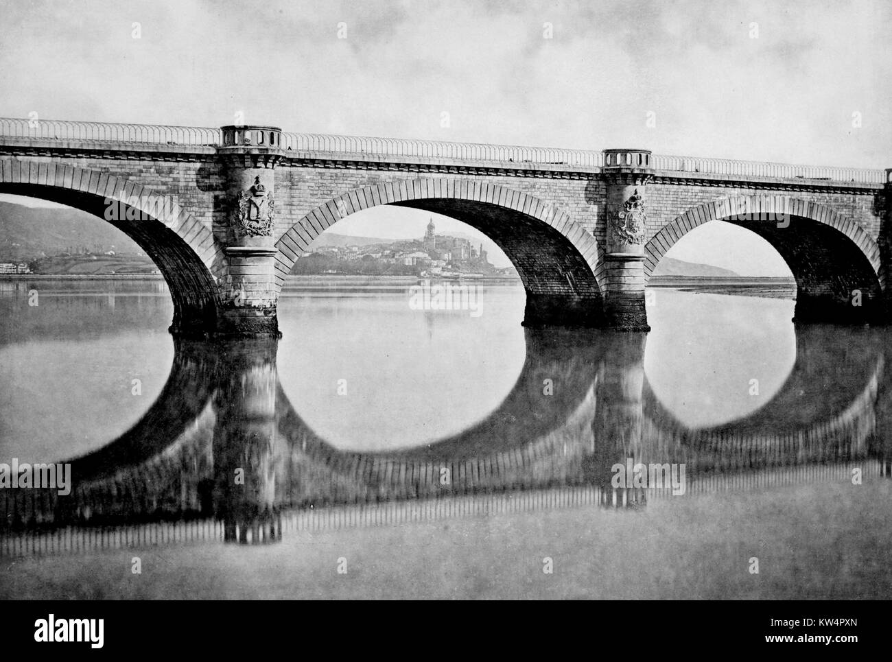 Bridge over the Bidasoa, France, 1883. From the New York Public Library. - Stock Image