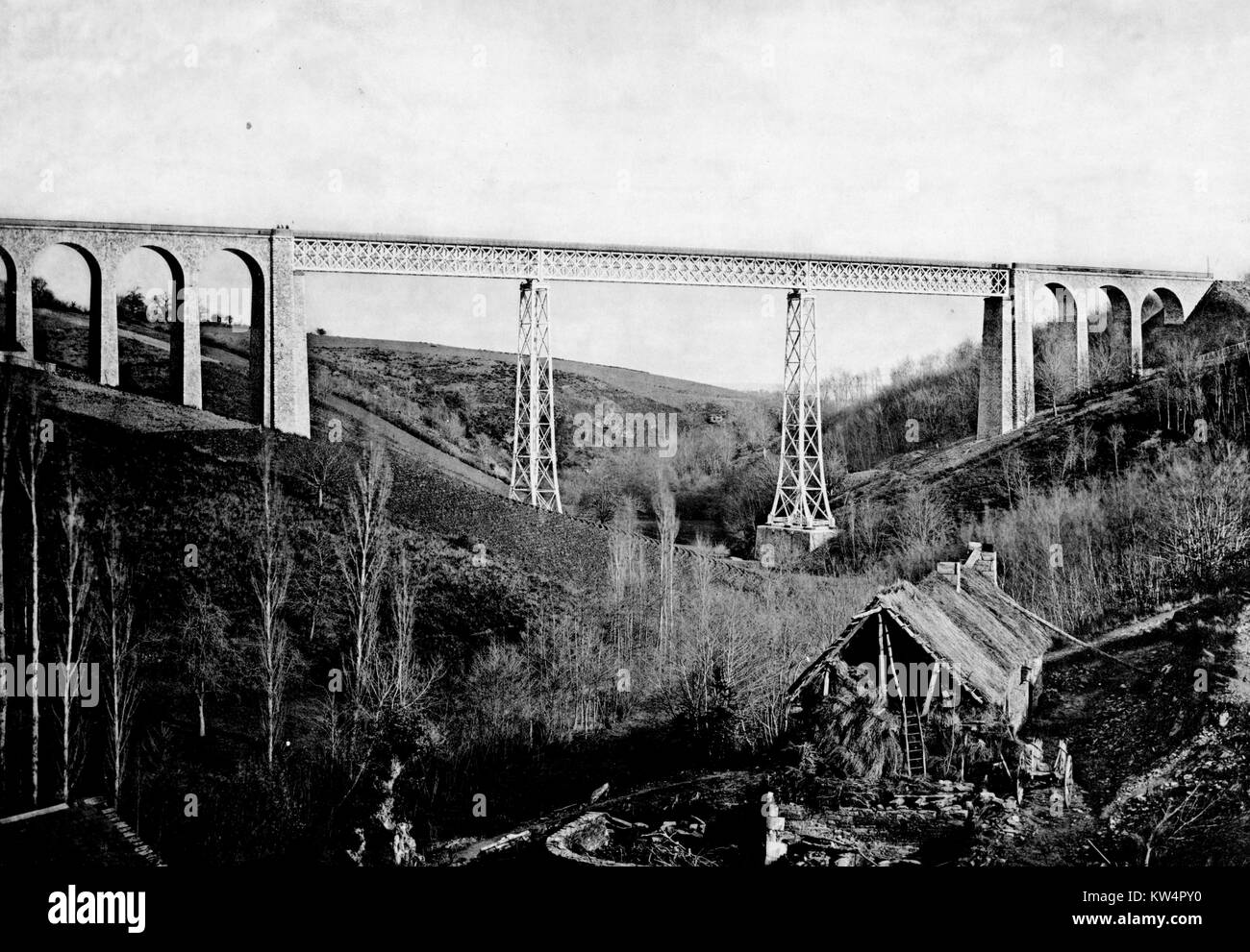 Bellon Viaduct, France, 1883. From the New York Public Library. - Stock Image