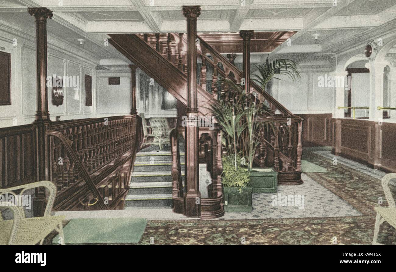 Postcard depicting the entrance and main staircase of the RMS Olympic, 1914. From the New York Public Library. - Stock Image