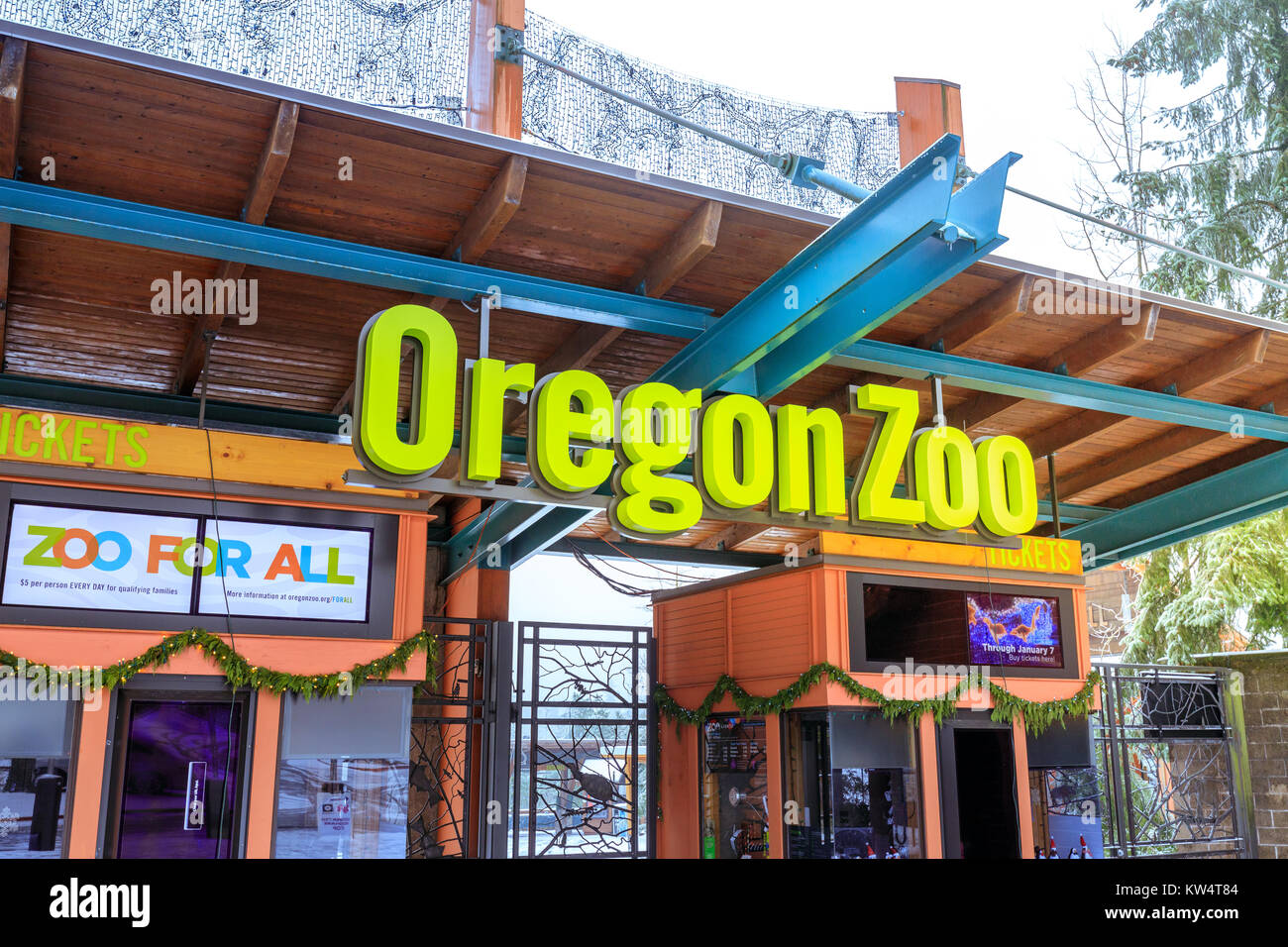 Portland, Oregon, United States - Dec 25, 2017 : The entrance of Oregon Zoo in Washington Park station at winter season Stock Photo