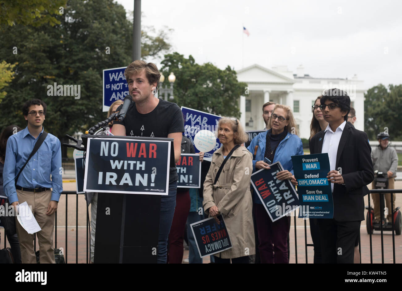 Washington, USA - 12 October 2017: Protest 'No War With Iran' in front of The White House in Washington. - Stock Image