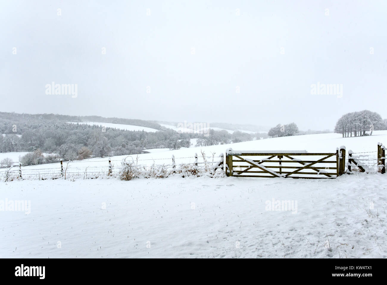Snowy rural scene of the Chess Valley in The Chilterns - Stock Image