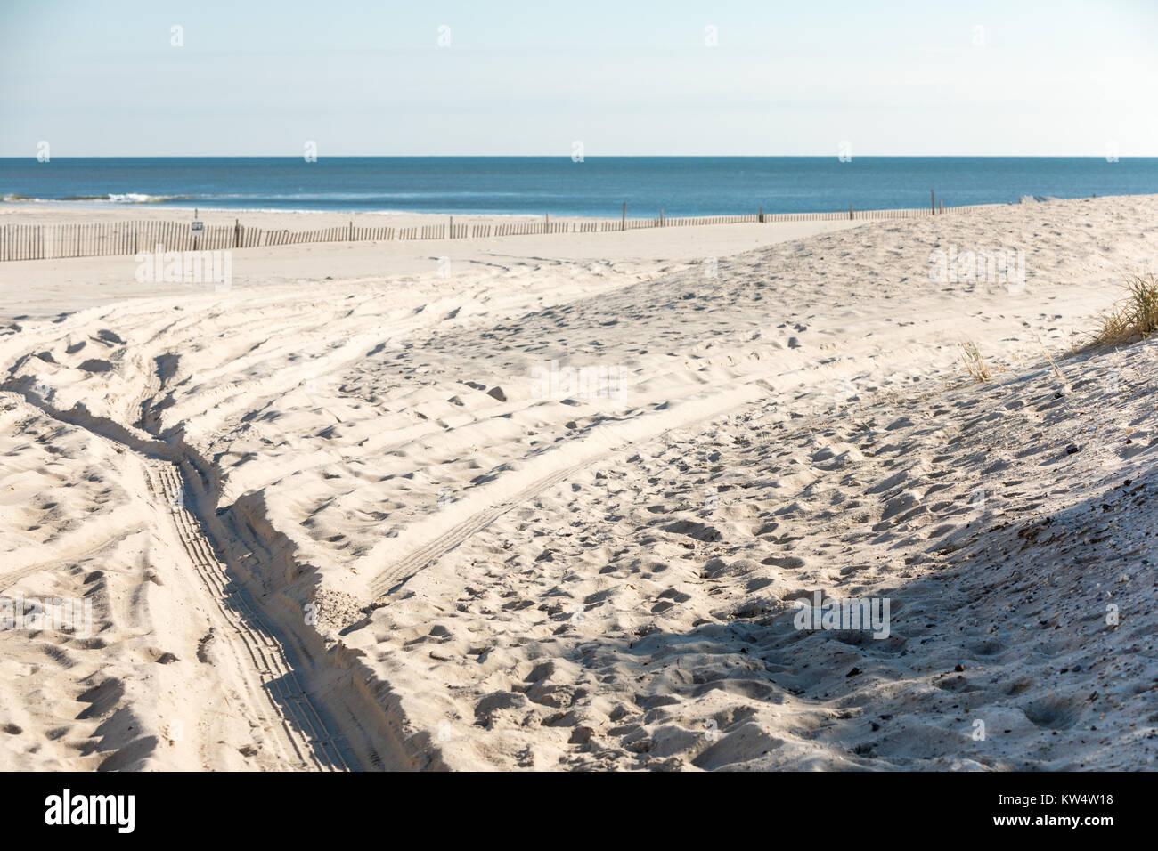 sandy ocean beach in Water Mill, ny - Stock Image