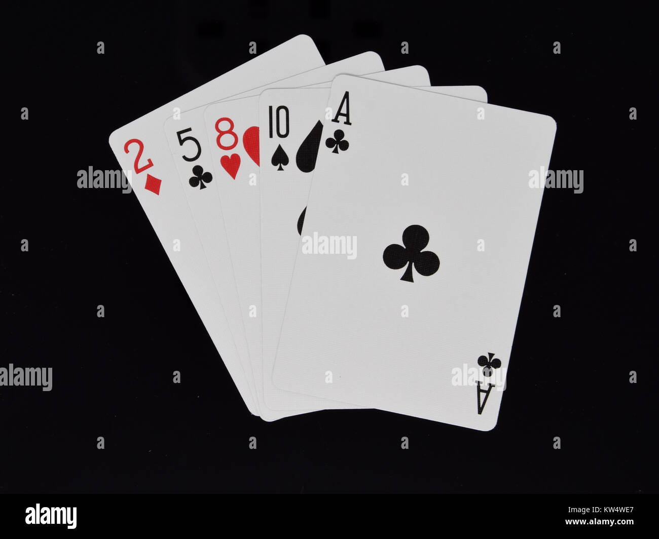 Ace High hand in poker card game - Stock Image
