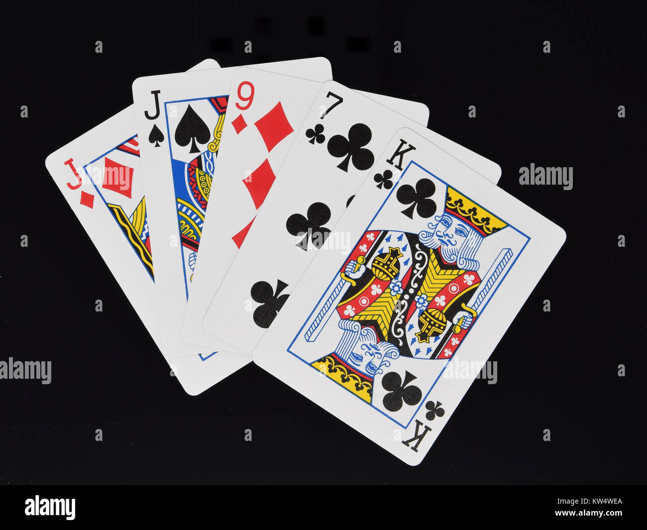 One Pair hand in poker card game - Stock Image