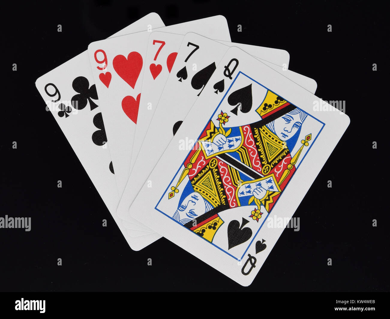 Two Pairs hand in poker card game - Stock Image