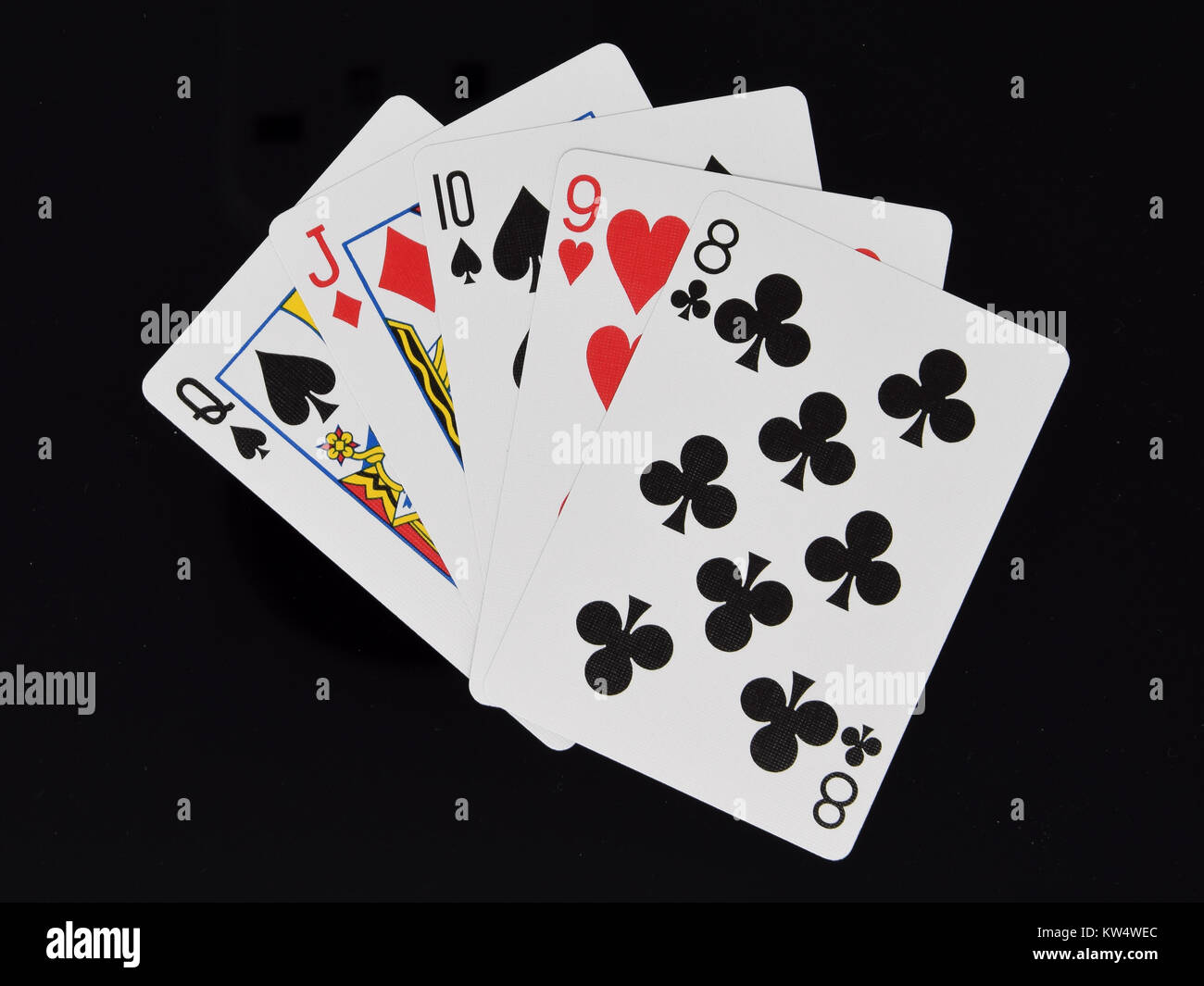A Straight hand in poker card game - Stock Image