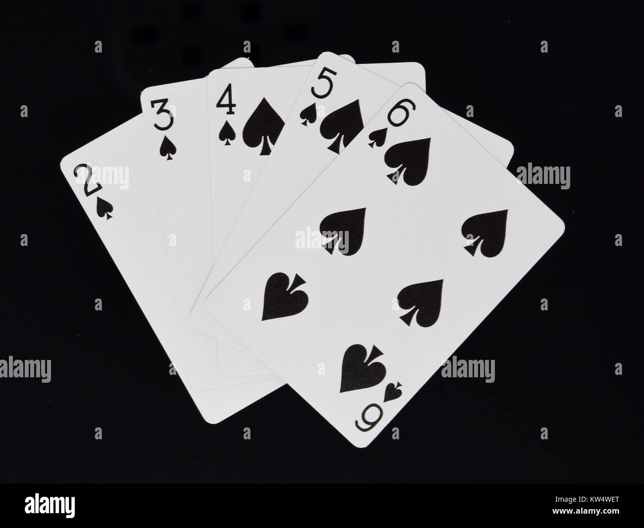 A Straight flush hand for  a poker card game - Stock Image