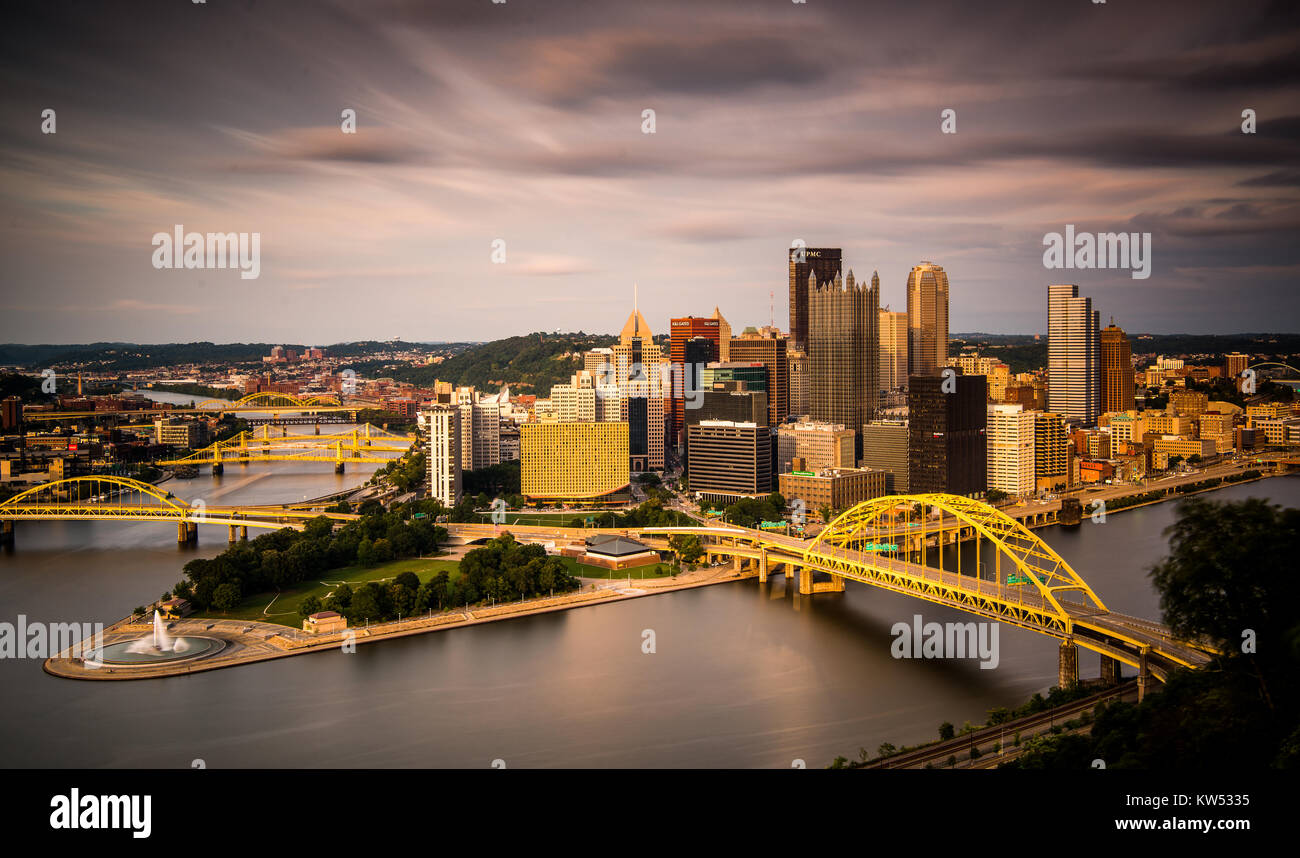 This image of Pittsburgh. Pennsylvania was taken from the Duquesne incline. - Stock Image