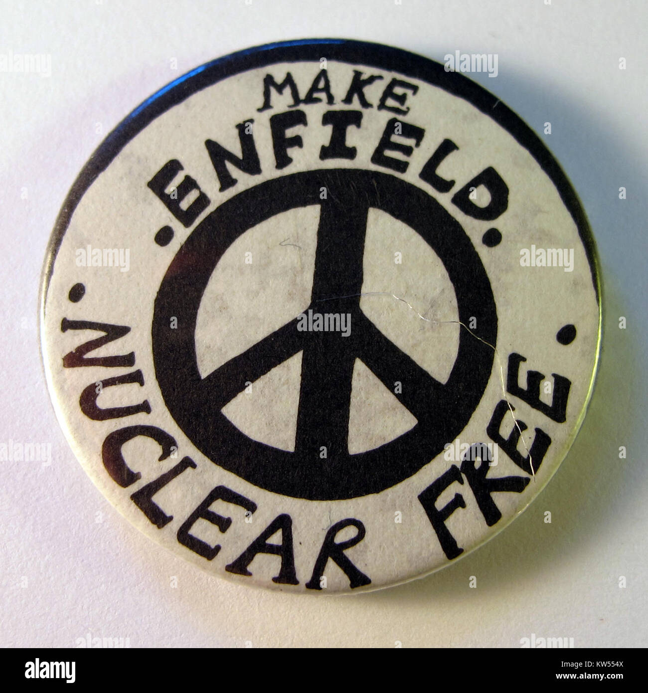 Make Enfield Nuclear Free badge, c.1984 - Stock Image