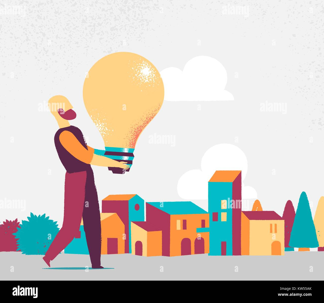 man bring great idea for the city - Stock Vector