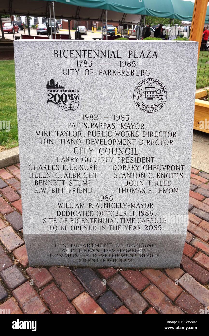 Bicentennial Plaza marker   Parkersburg, West Virginia   DSC05548 Stock Photo