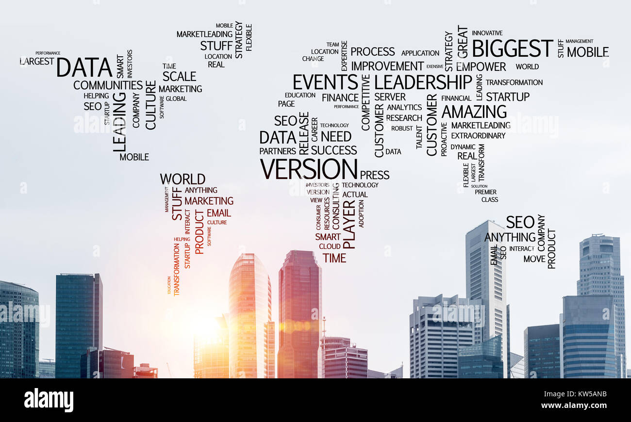 Business related terms collage in form of world map with modern business related terms collage in form of world map with modern cityscape and sunlight on background gumiabroncs Images
