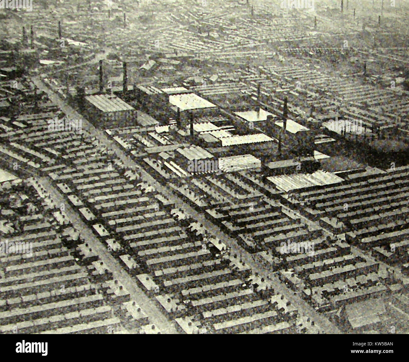 Preston Lancashire, England in  1933,  Cotton mills and factory workers houses - Stock Image