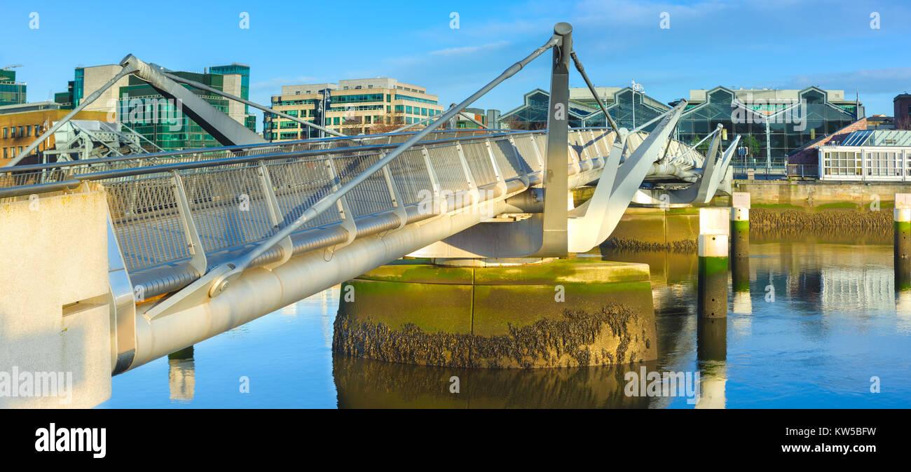 Sean O'Casey bridge in Dublin, Ireland, on a bright day. Panoramic image. - Stock Image