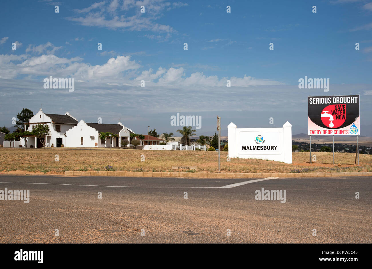Roadside sign warning of a serious drought situation in Malmesbury a town in the Karoo region of South Africa. December - Stock Image