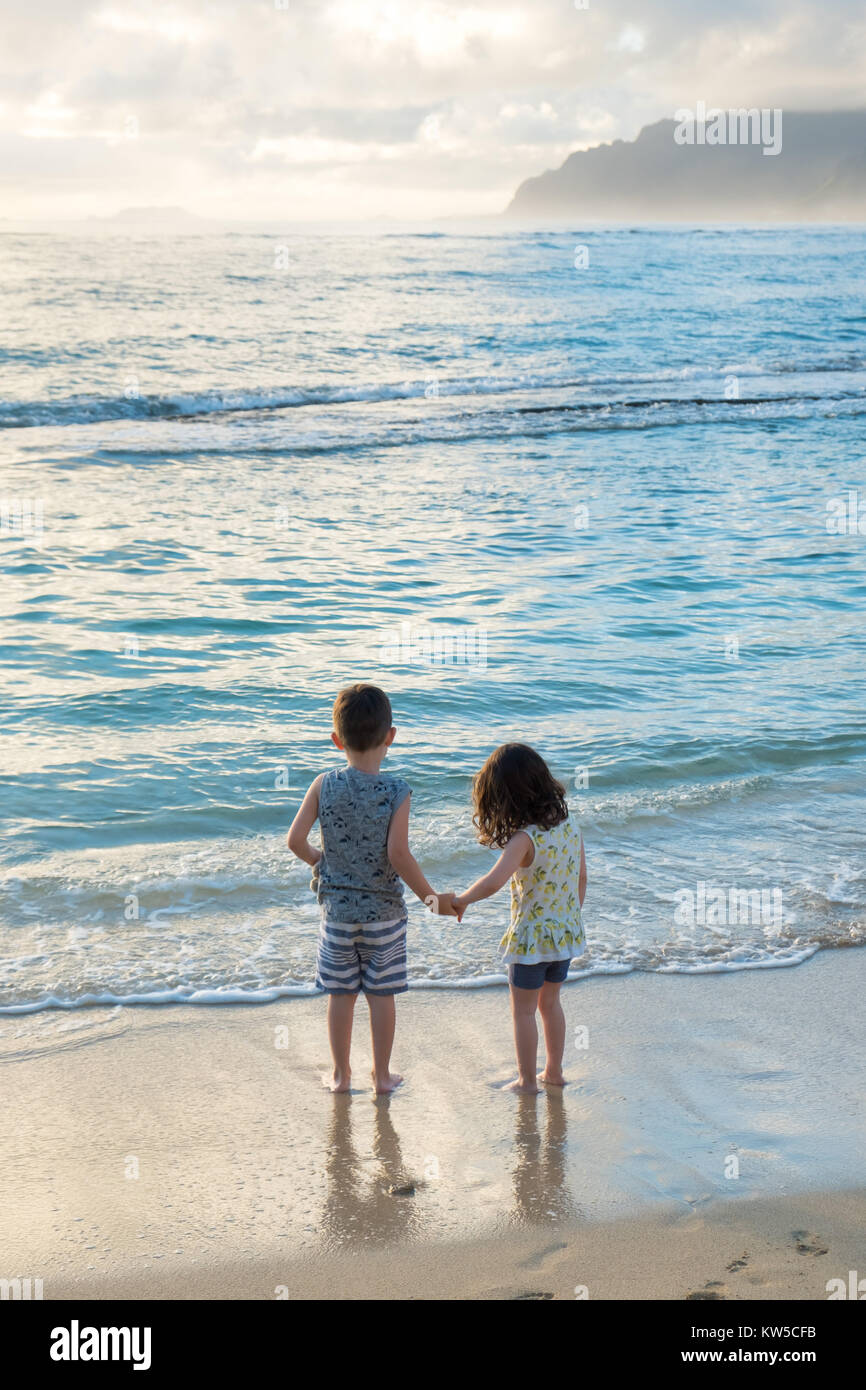 Siblings experiencing the beach and ocean together while on a tropical vacation to Oahu Hawaii with nice warm weather - Stock Image