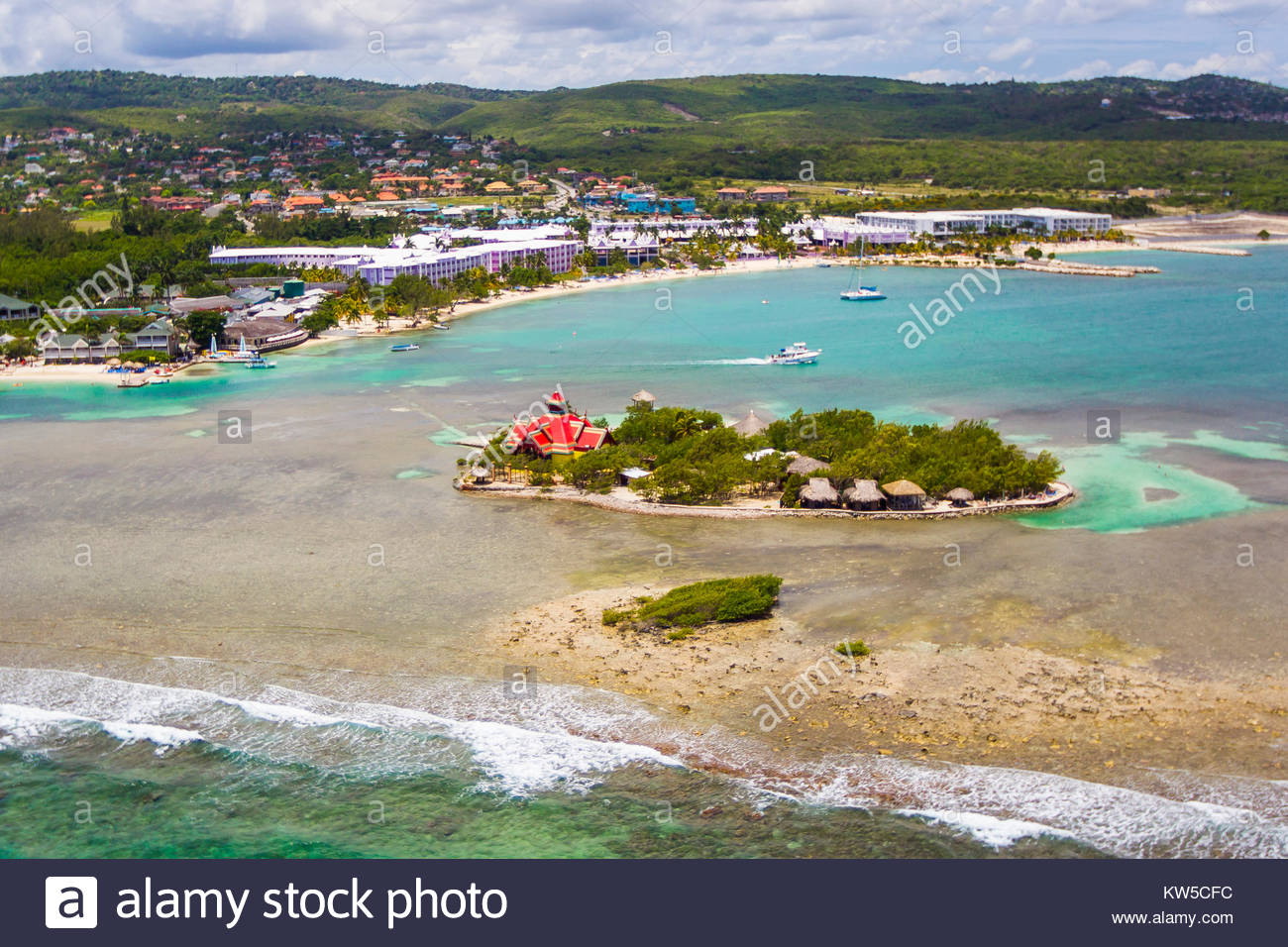 An aerial view of the Sandals Royal Caribbean island resort in Montego Bay, Jamaica. - Stock Image